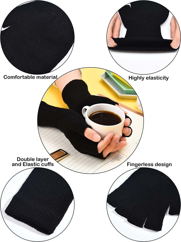 4 Pairs Unisex Half Finger Gloves Winter Knitted Fingerless Mittens Stretchy Gloves