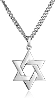 Men's Sterling Silver Star of David Pendant with...