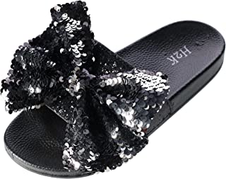 H2K Women s Slide Slipper with Sequin Bow a9bb98d5ef44
