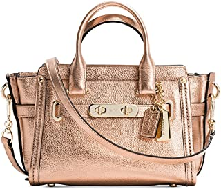 Coach Swagger 20 Metallic Gold Leather Satchel Crossbody Bag 35990
