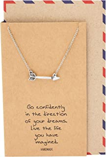 Quan Jewelry Arrow Necklace, Graduation and Christmas Gifts for Women with Inspirational Quotes on Greeting Card, Adjustable from 16-18 Inches
