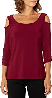 Star Vixen Women's Petite 3/4 Sleeve Cutout Cold Shoulder Top