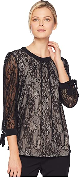 Long Sleeve Lace Overlay Knit Top