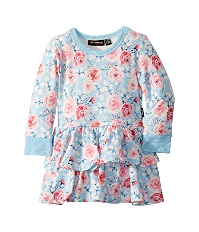 Rock Your Baby Pretty Flowers Long Sleeve Waisted Dress (Infant) (Blue) Girl