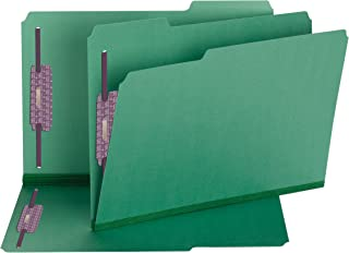 """Smead Pressboard Fastener File Folder with SafeSHIELD Fasteners, 2 Fasteners, 1/3-Cut Tab, 2"""" Expansion, Legal Size, Green..."""