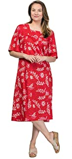 La Cera Plus Short Sleeve Cotton Float Dress in Crimson Laurel