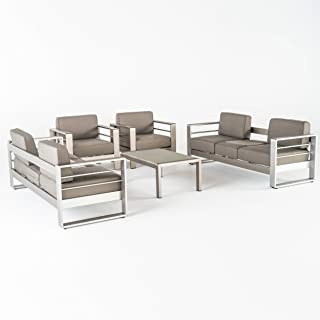 Christopher Knight Home Crested Bay Outdoor Aluminum 5-Piece Sofa Set with Khaki Cushions