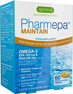 Pharmepa Maintain 1000mg Omega-3 EPA & DHA rTG Superior Grade Wild Fish Oil Concentrate with D3, 60 Small softgels