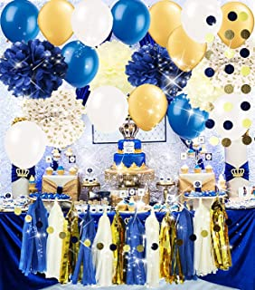 Royal Prince Baby Shower Decorations/ Navy Gold Bridal Shower Decorations Tissue Pom Pom Latex Balloons Tassel Garland Polka Dot Tissue Poms for Boy First Birthday/Navy Gold Wedding Decorations