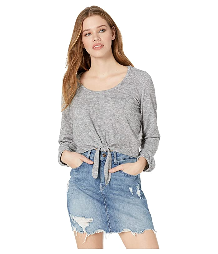 Knot Bothered Tie Front Top Light Heather Grey