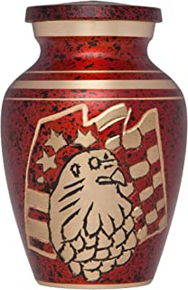 Funeral Urn by Liliane - Keepsake Cremation Urn for Human Ashes - Hand Made in Brass and Hand Engraved - Fits a Small Amount of Cremated Remains - Display Burial Urn at Home or in Niche at Columbarium - American Eagle Red