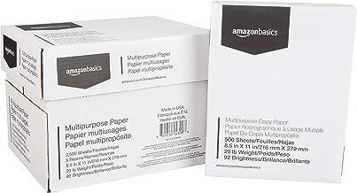 AmazonBasics Multipurpose Copy Printer Paper - White, 8.5 x 11 Inches, 5 Ream Case (2,500 Sheets)