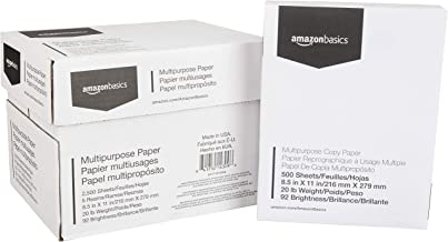 AmazonBasics Multipurpose Copy Printer Paper - White, 8.5 x 11 Inches, 5 Ream Case (2,500 Sheets)