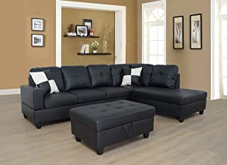 Lifestyle Furniture Right Facing 3PC Sectional Sofa Set,Faux Leather,Black(LS091B)