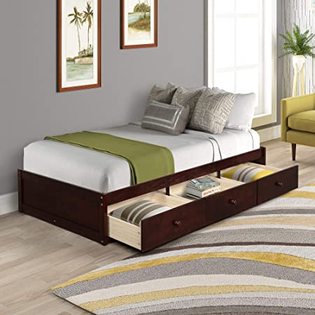 SOFTSEA Storage Bed with 3 Drawers, Twin Wood Platform Bed for Bedroom Living Room, No Box Spring Needed (Cherry)