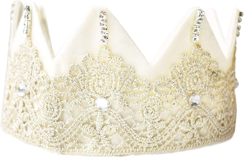 California Tot Girls' Fairy Princess Felt Lace Gem Crown Tiara (Fairy Crown)