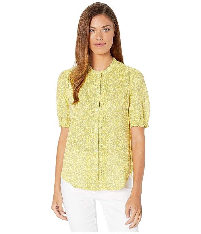 Lucky Brand  Dakota Ruffle Sleeve Top (Yellow Multi) Womens Clothing