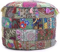 GANESHAM Indian Hippie Vintage Cotton Floor Pillow & Cushion Patchwork Bean Bag Chair Cover Boho Bohemian Hand Embroidered Handmade Pouf Ottoman (Grey, 13