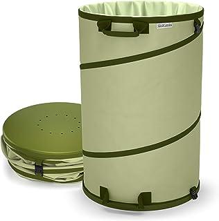 Collapsible 45-Gallon Canvas Garden Waste Bag | Pop-up Reusable Yard Leaf Bag Holder- Heavy Duty Hardened Bottom - with Drain Holes for Lawn Pool Garden Trash Bag- Leaf Bagger (45 GL, Garden Bag)