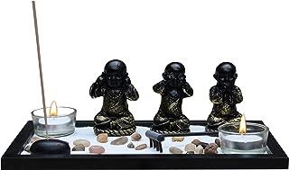 Zen Garden Meditation Garden 3 Buddha See, Speak, Hear No Evil Statues, Incense Holder, Incense, 2 Tea Light Holders, Rocks, Sand, Rake (Candles Not Included)