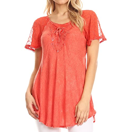 7bef63edaaed Sakkas Ellie Sequin Embroidered Cap Sleeve Scoop Neck Relaxed Fit Blouse