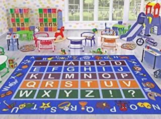 Ottomanson Jenny Collection Light Blue Frame with Multi Colors Kids Children's Educational Alphabet (Non-Slip) Area Rug, Blue, 5'0