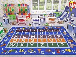 Ottomanson Jenny Collection Light Blue Frame with Multi Colors Kids Children's Educational Alphabet (Non-Slip) Area Rug, Blue, 5'0