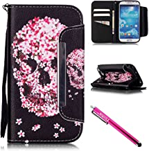 Galaxy S4 Case, Galaxy S4 Wallet Case, Firefish [Card Slots] [Kickstand] Flip Folio Wallet Case Synthetic Leather Shell Scratch Resistant Protective Cover for Samsung Galaxy S4 i9500-Skull