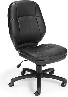 OFM Stimulus Series Leatherette Executive Mid-Back Armless Chair, Black
