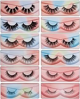 Sponsored Ad - Pinkywinky False Eyelashes 12 Pairs Mixed Styles 3D Fake Eyelashes Pack Makeup 100% Handmade Faux Mink Lash...