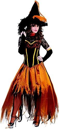 Disfraz bruja puntilla naranja mujer Halloween S