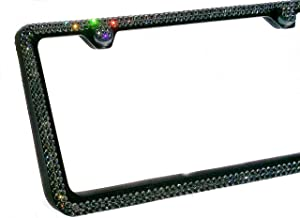 2 Row GREY CRYSTAL (on BLACK) made w/ SWAROVSKI Elements Metal Sparkle Bling License Plate Frame & Caps set