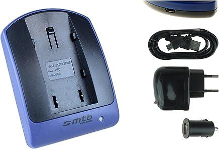 Cargador (USB/Coche/Corriente) para JVC BN-VF815 / GC-PX10, PX100 / GZ-MG... / GR-D... ver lista!