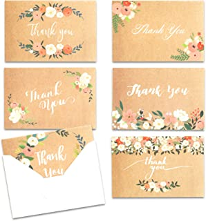 Thank You Cards with Envelopes, 48-Count Thank You Notes, 6 Floral Designs, 4 x 6 Inches, Blank Inside Thank You Cards Bul...