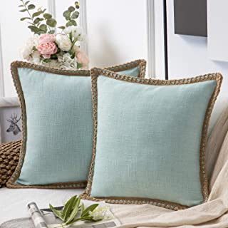 Phantoscope Pack of 2 Farmhouse Decorative Throw Pillow Covers Burlap Linen Trimmed Tailored Edges Light Turquoise 20 x 20...
