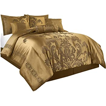 Elegant Faux Silk Gold Tai Mahal Jacquard 9 pcs King Queen Comforter Set