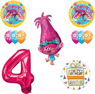 TROLLS 4th Birthday Party Supplies and Poppy Balloons Bouquet Decoration