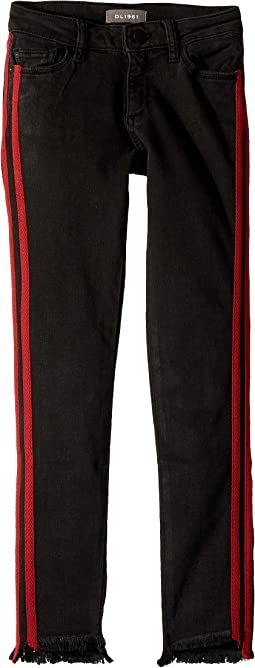 Chloe Skinny with Red Double Side Stripe and Raw Hem in Pop Black (Big Kids)