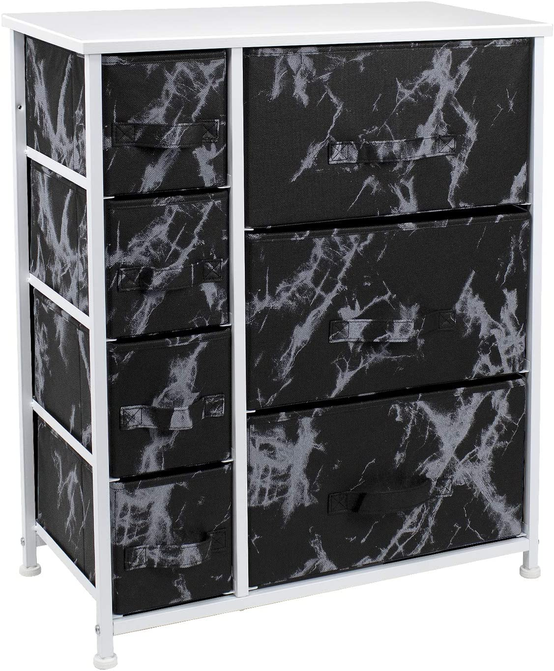 Sorbus Dresser with Drawers - Furniture Storage Tower Unit for Bedroom, Hallway, Closet, Office Organization - Steel Frame, Wood Top, Easy Pull Fabric Bins (Marble Black/White Frame)