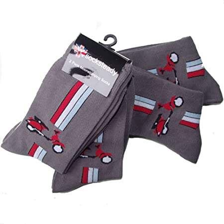 Mens Grey Socks with Red Vespa Design Super Pack of 4 Pairs, Grey, Fits Mens Shoe Size 5-10