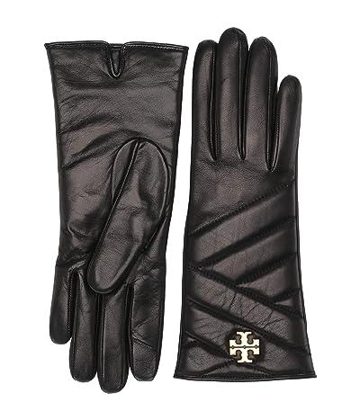 Tory Burch Kira Chevron Gloves (Black) Over-Mits Gloves