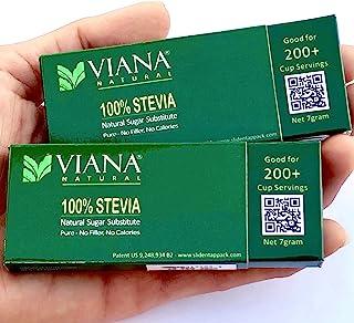 VIANA STEVIA - Guaranteed 100% Pure Granular Stevia Extract Rebaudioside-A (Reb-A) 97%, NO FILLERS, Pocket Size Pack, Diet...