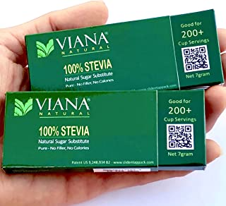 VIANA STEVIA - Guaranteed 100% Pure Granular Stevia Extract Rebaudioside-A (Reb-A) 97%, NO FILLERS, Pocket Size Pack, Diet Weight Loss Aid - Pack of 2