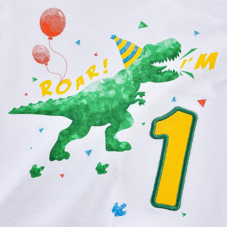 Dinosaur 1st Birthday Shirt Dino B-Day Party One Year Old Baby Boy TRex T-Shirt
