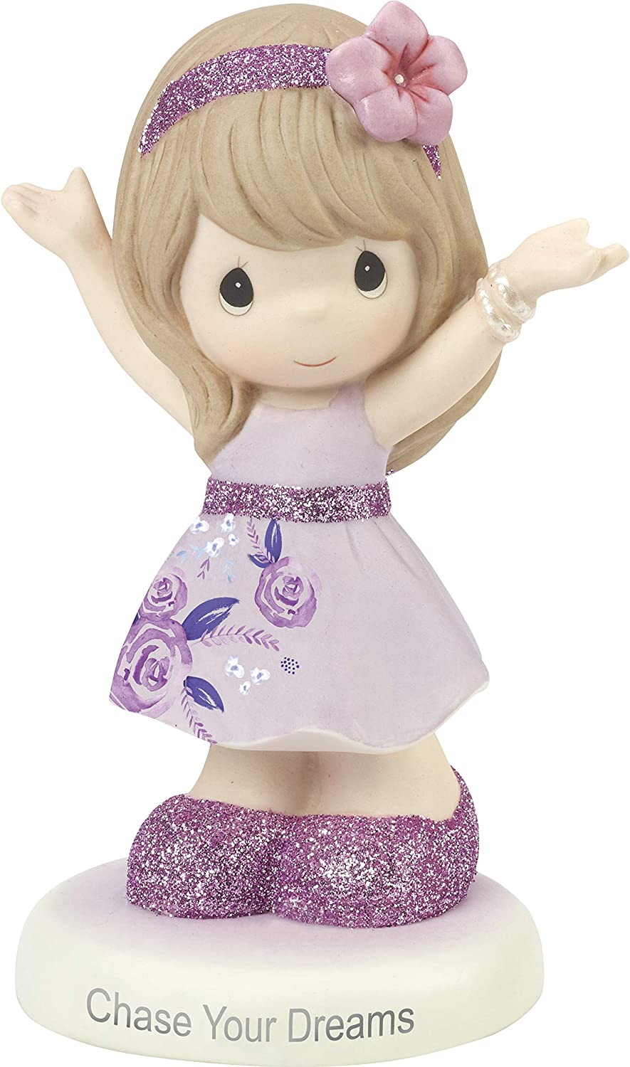 Precious Moments Chase Your Dreams Girl in Floral Dress Bisque PorcelainFigurine 182003