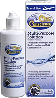 Clear Conscience Multi-Purpose Contact Lens Solution (Pack of 2) Multi-Purpose, Sterilized by Filtration Without Radiation, Sterile Isotonic Solution, Formulated for Sensitive Eye, 3 oz. Each