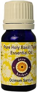 Deve Herbes Pure Holy Basil (Tulsi) Essential Oil (Ocimum Sanctum) 100% Natural Therapeutic Grade Steam Distilled 10ml (0....