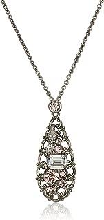 Sorrelli Womens Snow Bunny Filigree Teardrop Pendant Necklace, Clear/Pink, 17
