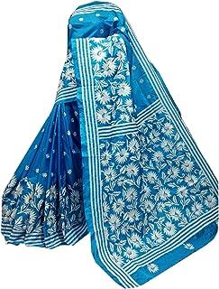 بلوزة ساري نسائية بنغال زرقاء مختلطة من الحرير بانغالور ساري كامل الجسم من قماش كانثا منسوج يدويًا 909A