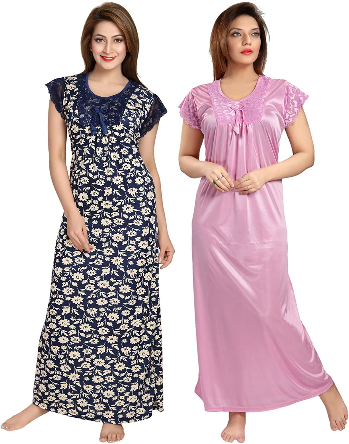 Be You Serena Satin blueePink Women Nightgowns Combo Pack of 2